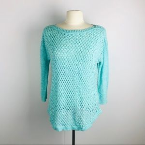 Calvin Klein Turquoise Open Knit Small Sweater